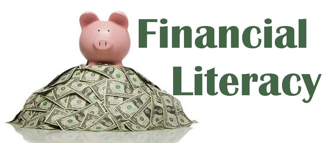 Picture of Money and a Piggy Bank with Financial Literacy On It